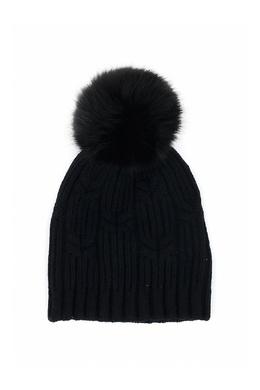 Черная шапка с меховым помпоном Fedeli 680152231