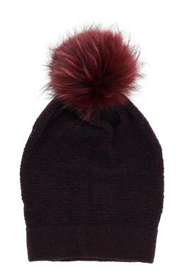 Бордовая шапка с помпоном Fedeli 680152121