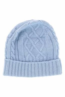 Голубая шапка-бини фигурной вязки Fedeli 680152291