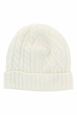 Белая шапка-бини фигурной вязки Fedeli 680152289