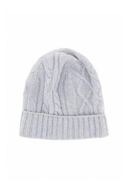Светло-серая шапка-бини фигурной вязки Fedeli 680152294