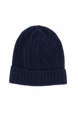 Темно-синяя шапка-бини фигурной вязки Fedeli 680152295