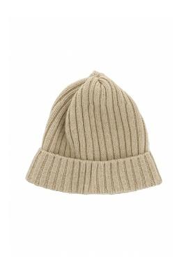 Бежевая шапка-бини с отворотом Fedeli 680152278