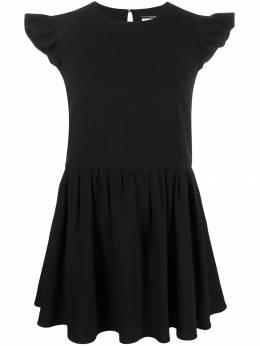Saint Laurent - короткое платье с оборками на рукавах 555Y690W938985330000