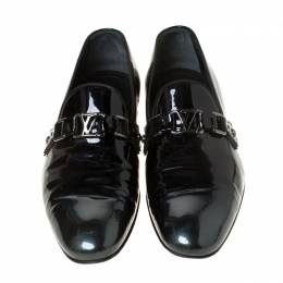 Louis Vuitton Anthracite Patent Leather Glass Dome Loafers Size 42.5 225891
