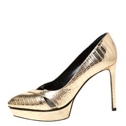 Saint Laurent Metallic Gold Lizard Embossed Leather Janis Cut Out Platform Pumps Size 36