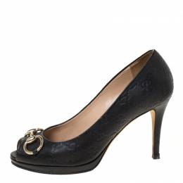 Gucci Black Guccissima Leather New Hollywood Horsebit Peep Toe Pumps Size 37