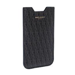 Saint Laurent Paris Brown/Black Toile Monogram Coated Canvas iPhone Case 225102