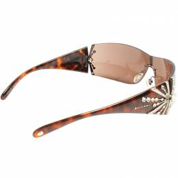 Bvlgari Brown Limited Edition 8032-B Crystal Embellished Shield Sunglasses 220482