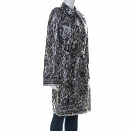 Dolce&Gabbana Grey Coated Silk Floral Lace Pattern Raincoat M