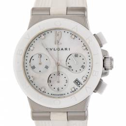 Bvlgari White Mother of Pearl White Ceramic Stainless Steel Diamonds Diagono DG37SCCH Women's Wristwatch 37 mm 226667