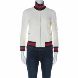Gucci Off White Jersey Knit Web Trim Track Jacket XS 226205