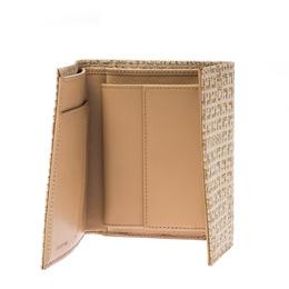 Cerruti 1881 Gold/Beige Signature Textured Fabric Fold Over Wallet