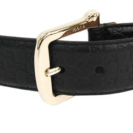 Gucci Black Leather Guccissima Belt 80CM 225559