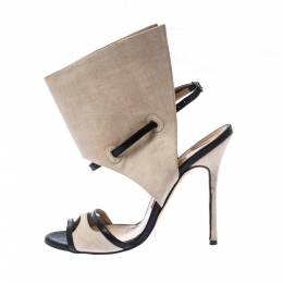 Manolo Blahnik Beige Canvas And Black Leather Suntaxa Ankle Wrap Sandals Size 38.5