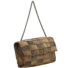 Chanel Dark Brown/Beige Suede Patchwork 2.55 Reissue Flap Bag 216593