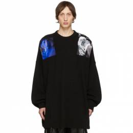 Raf Simons Black Oversized Patches Sweater 192287M20101404GB
