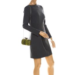 Diane Von Furstenberg Green/Black Snakeskin Flirty Minaudiere Clutch 224958