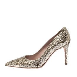 Miu Miu Metallic Gold Glitter Pointed Toe Pumps Size 38 226946