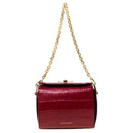 Alexander McQueen Red Croc Embossed Leather Box Shoulder Bag 225157