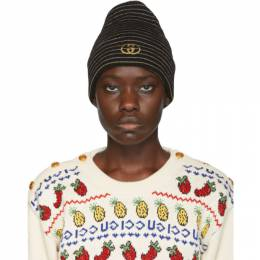 Gucci Black GG Striped Beanie 593127 3GE19