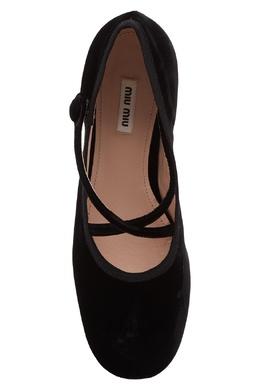 Черные бархатные балетки с ремешками Miu Miu 375152952