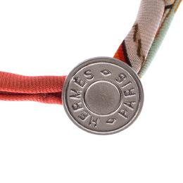 Hermes Multicolor Silk Twill Silver Tone Bracelet 16 cm 226987