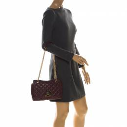 MICHAEL Michael Kors Burgundy Quilted Leather Shoulder Bag