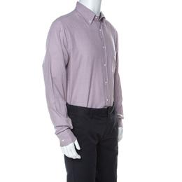 Loro Piana Purple Mini Houndstooth Brushed Cotton Button Up Alfred Shirt XL 227074