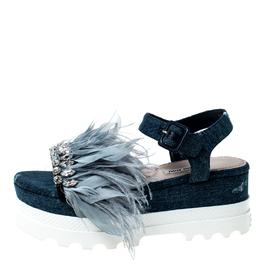 Miu Miu Blue Canvas Feather/Crystal Embellished Platform Sandals Size 38
