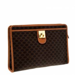 Celine Brown Macadam Leather Clutch 226526