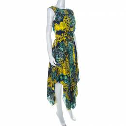 Versace Multicolor Printed Layered Handkerchief Hem Dress S 225077