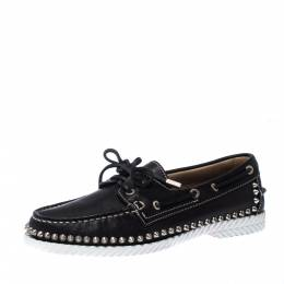 Christian Louboutin Black Leather Steckel Spike Boat Loafers Size 38.5 226796