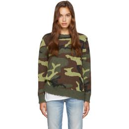 R13 Green Camo Cashmere Sweater 192021F09600603GB