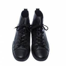 Louis Vuitton Black Leather And Monogram Canvas Match Up High Top Sneakers Size 42 227420