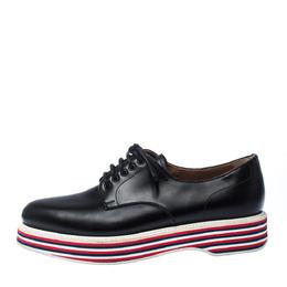 Church's Black Leather Lace Up Platform Derby Size 37 227340