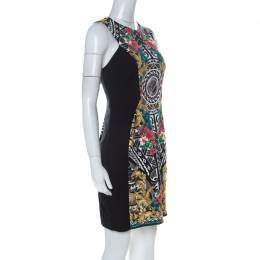 Versace Multicolor & Black Paneled Sleeveless Sheath Dress L 227338