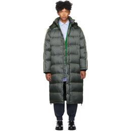 Gucci Green Down GG Jacquard Coat 590745 Z4218