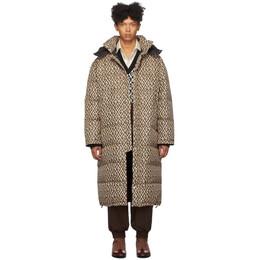 Gucci Black and Beige Down Mini G Rhombus Coat 595475 Z8AFE