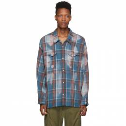 R13 Blue Oversized Plaid Cowboy Shirt 192021M19200404GB