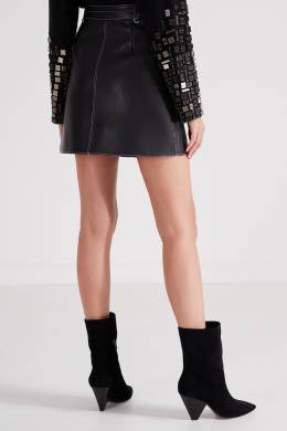Кожаная черная юбка-мини с отделкой Maje 888153531