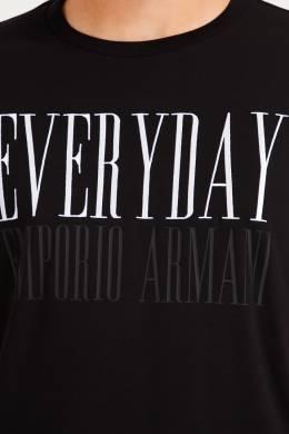 Черная футболка со стилизованным логотипом Emporio Armani 2706154179