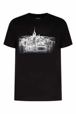 Черная футболка с графичным принтом Emporio Armani 2706154175
