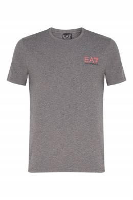 Серая меланжевая футболка с логотипом Ea7 2944154172
