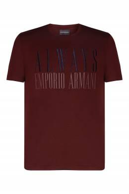 Бордовая футболка со стилизованным логотипом Emporio Armani 2706154197