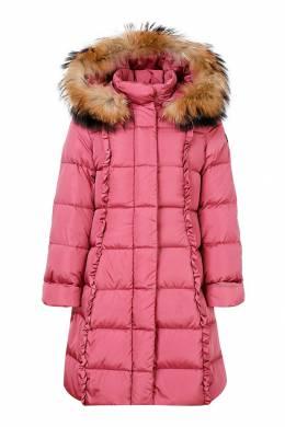 Розовый пуховик с рюшами Il Gufo 1205153487