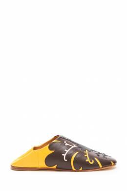 Желтые кожаные слиперы с аппликацией Vita Kin 416153149
