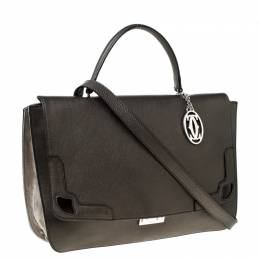Cartier Grey Metallic Leather and Suede Flap Top Handle Bag 226995