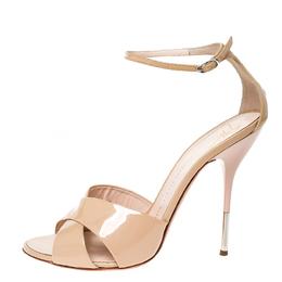 Giuseppe Zanotti Design Beige Patent Leather Cross Strap Open Toe Sandals Size 40