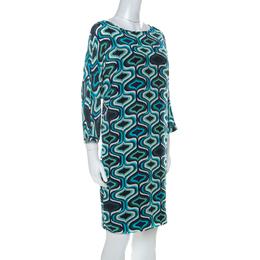 M Missoni Blue Printed Crepe De Chine Three Quarter Sleeve Shift Dress M